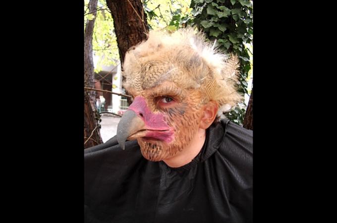 Schminkmaske mit Stirnglatze und Prosthetic aus Kaltschaum